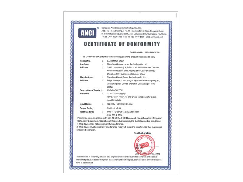 18AE04143F 001 FCC Cert.